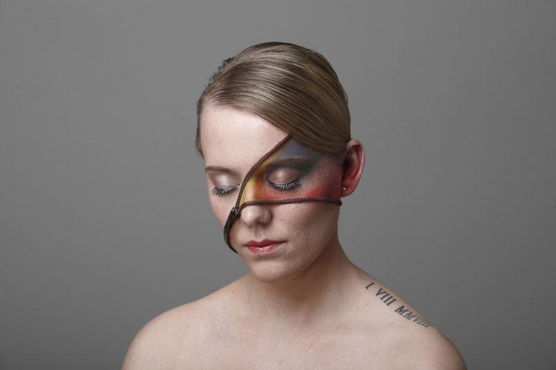 Gezicht makeup met rits Marcel de Graaf fotografie